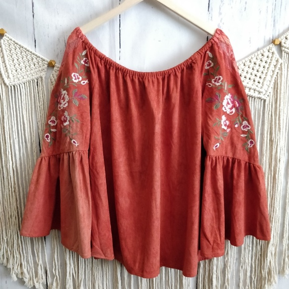 Umgee Tops - Umgee Orange Suede Embroidered Off-Shoulder Top L